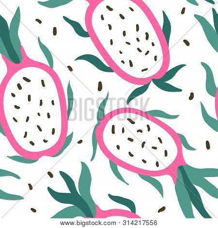 Doodle Pitahaya Vector Seamless Pattern. Hand Drawn Abstract Tropical Pattern Of Exotic Fruit Pitaya