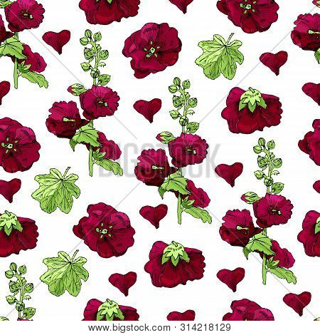 Seamless Pattern With  Bouquet And Single Flowers Of Burgundy Mallow And Green Leaves. Hand Drawn In