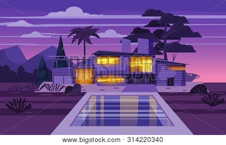 Modern Villa On Residence In Exotic Country Night, Expensive Mansion In Lahdscape Tropics Palm Trees