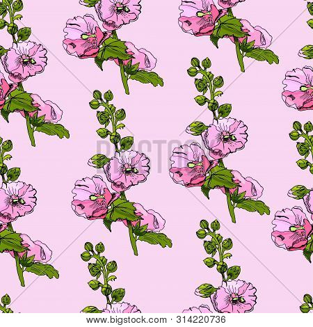 Seamless Pattern With Blossoming Bouquets  Of Pink Mallow Flowers And Green Leaves. Hand Drawn Ink A