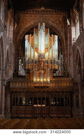 Manchester, United Kingdom, July 16 2019: Interior Architecural Details Of The Famous  And Beautiful