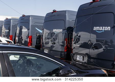 Indianapolis - Circa July 2019: Amazon Prime Delivery Van. Amazon.com Is Getting In The Delivery Bus