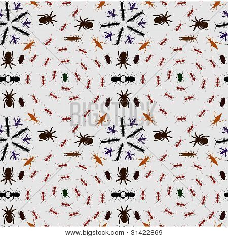 Seamless Creepy Crawlies Background