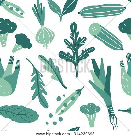 Seamless Pattern With Hand Drawn Doodle Vegetables And Herbs. Vector Texture For Textile, Wrapping P