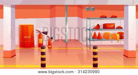 Fire Station Or Garage Empty Interior, Utility Room With Steel Pole, Signaling, Water Barrel, Sand B