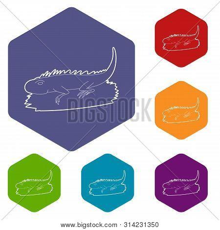 Iguana Icon. Outline Illustration Of Iguana Vector Icon For Web