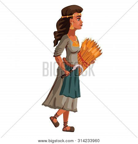 Peasant Woman With Sickle And Sheaf Of Spikelets In Hands, Cartoon Vector Illustration. Female Chara