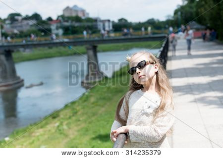 Luxurious Beauty. Prom Queen. Adorable Prom Girl On Summer Day. Little Child With Long Hair Wearing