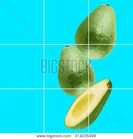Colorful Fruit Background Of Fresh Whole And Slices Avocado