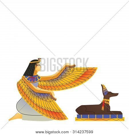 Ancient Egypt Wall Art Or Mural Element Cartoon Vector. Monumental Painting Egyptian Culture Symbols