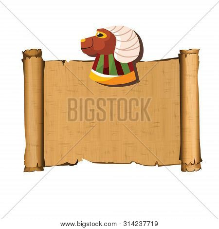 Ancient Egypt Papyrus Scroll With Ram Head Cartoon Vector Illustration. Ancient Paper With Hieroglyp