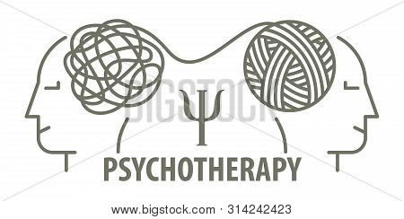 Psychotherapy Concept In Linear Style. Psychologist Unravels Tangled Tangle Untangled. Minimalistic