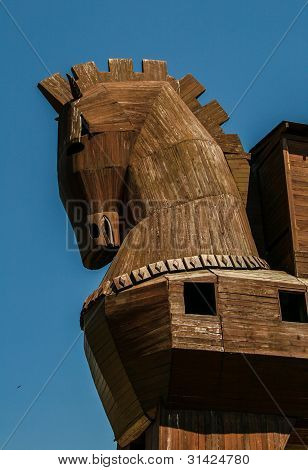 Reconstruction of the Trojan Horse at ancient site Troy at Canakkale poster