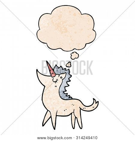 cartoon unicorn with thought bubble in grunge texture style