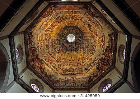 The Dome Of Basilica Di Santa Maria Del Fiore In Florence