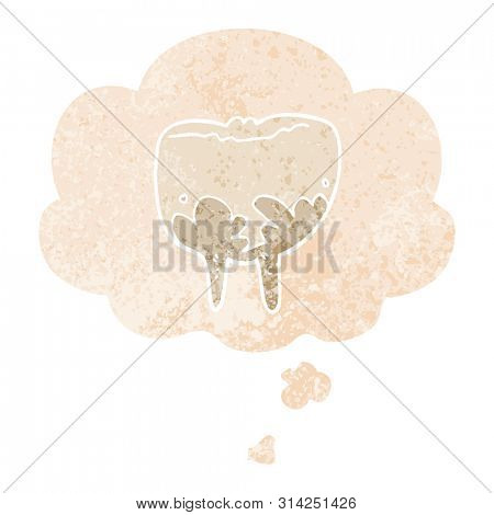 cartoon tooth with thought bubble in grunge distressed retro textured style