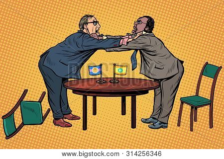 Racial Discrimination. Policy Diplomacy And Negotiations. Fight Opponents. Pop Art Retro Vector Illu