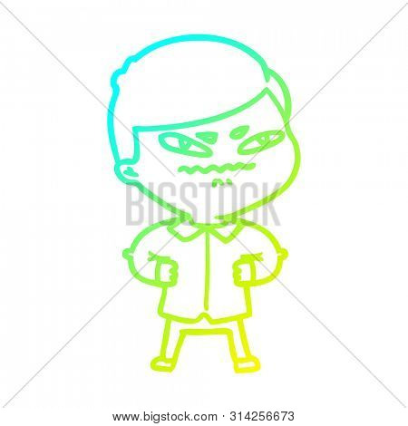 cold gradient line drawing of a cartoon angry man