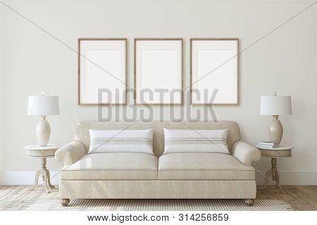 Modern Living-room Interior In Neutral Colors. Frame Mockup. Interior Mockup. Three Vertical Wooden