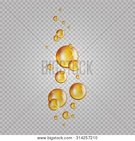 Gold Oil Bubbles. Vector Blink Collagen Capsules. Cosmetics Oil Drops Isolated On Transparent Backgr
