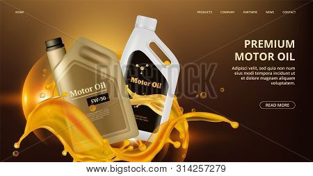 Engine Oil Landing Page. Vector Motor Oil Web Page. Realistic Plastic Canistre, Car Repair Banner. M