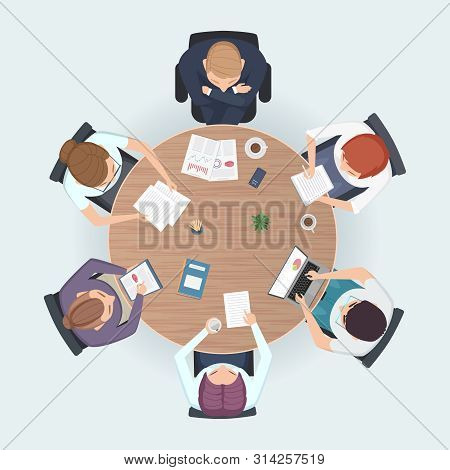 Round Table Top View. Business People Sitting Meeting Corporate Workspace Brainstorming Working Team