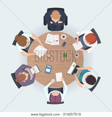 Round Table Top View. Business People Sitting Meeting Corporate Workspace Brainstorming Working Team