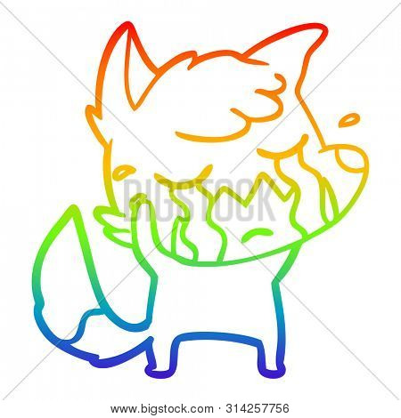 rainbow gradient line drawing of a crying fox cartoon