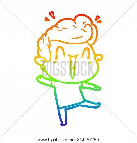 rainbow gradient line drawing of a cartoon excited man