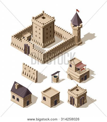 Castles Isometric. Medieval Historical Cartoon Architecture Buildings Ancient Farm Houses Vector Cas