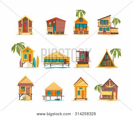 Beach Houses. Funny Buildings For Summer Vacation Tropical Bungalow Cabins And Constructions Vector.