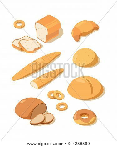 Fresh Bread. Loaf Pretzel Fresh White And Black Baking Bread From Bakery Pastries Vector Isometric F