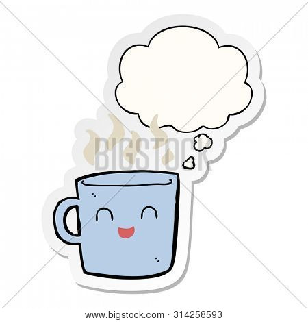 cute coffee cup cartoon with thought bubble as a printed sticker