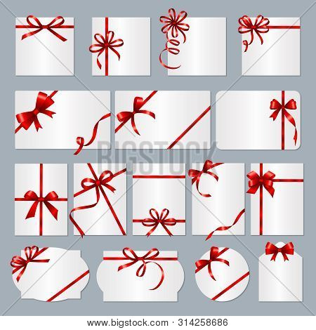 Gift Card Frames. Red Ribbons Gift Banners With Place For Text Vector Collection. Box Gift With Red