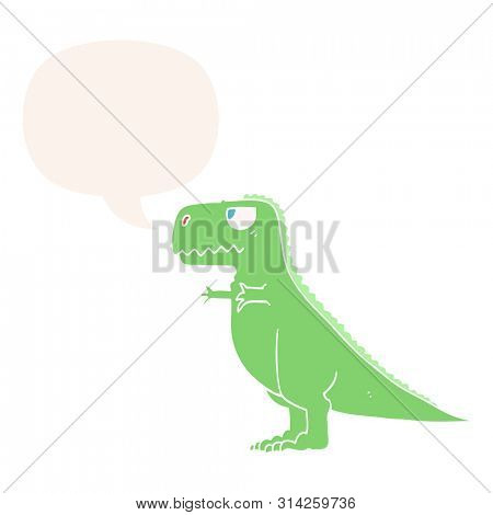 cartoon dinosaur with speech bubble in retro style