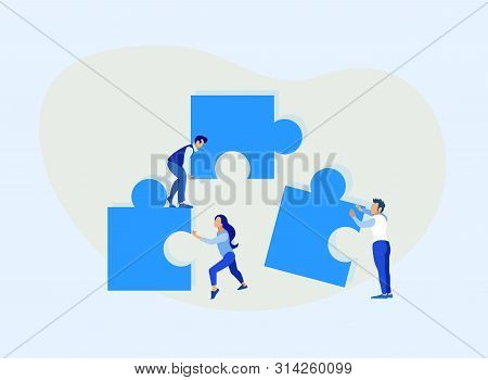 Cartoon People Characters Connecting Puzzle Pieces. Flat Team Metaphor. Teamwork And Teambuilding. C