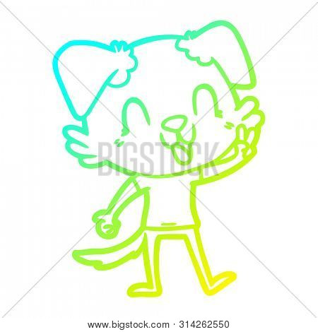 cold gradient line drawing of a laughing cartoon dog