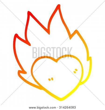 warm gradient line drawing of a cartoon flaming heart