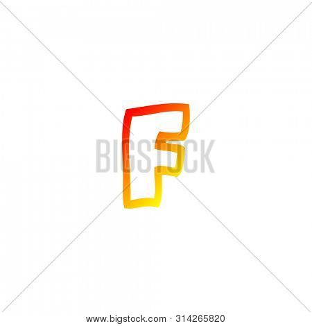 warm gradient line drawing of a cartoon letter f