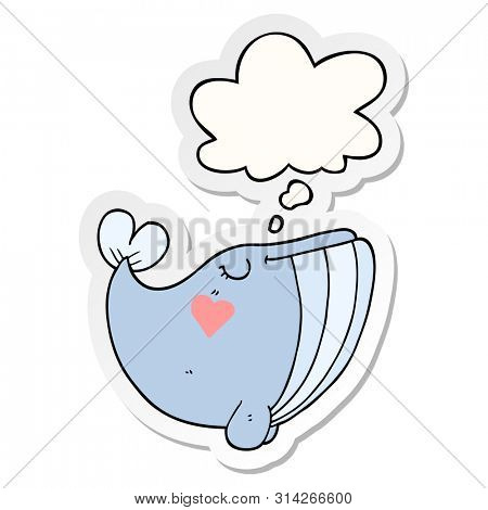cartoon whale with love heart with thought bubble as a printed sticker