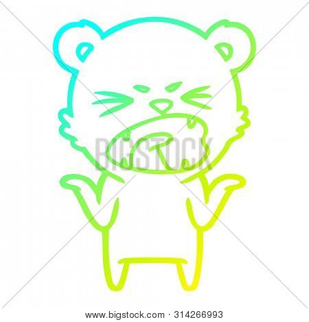 cold gradient line drawing of a angry cartoon polar bear