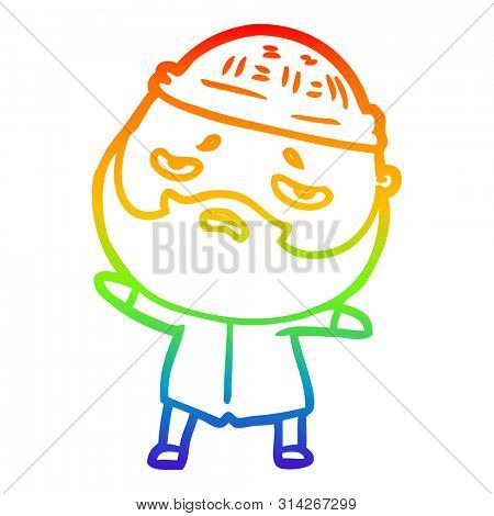 rainbow gradient line drawing of a cartoon worried man with beard