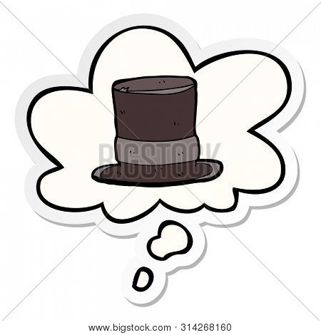 cartoon top hat with thought bubble as a printed sticker
