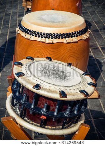 Traditional Asian Percussion Instruments. Taiko Or Wadaiko Or Chu-daiko Drum And Shime-daiko Or Nami