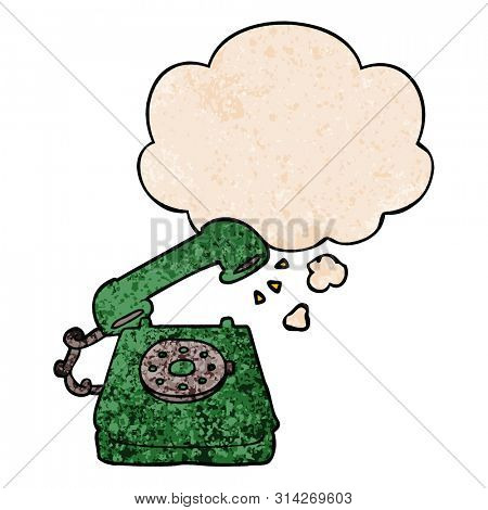 cartoon old telephone with thought bubble in grunge texture style