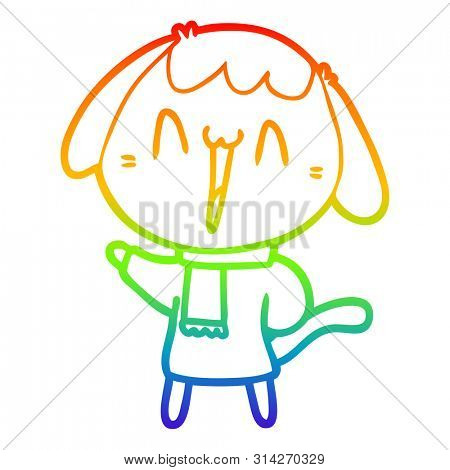 rainbow gradient line drawing of a cute cartoon dog