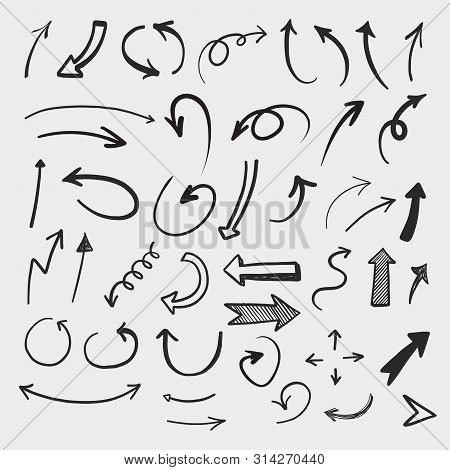 Doodle Set Of Pencil Drawing Objects. Hand Drawn Abstract Grunge Arrows. Vector Abstract Arrows For