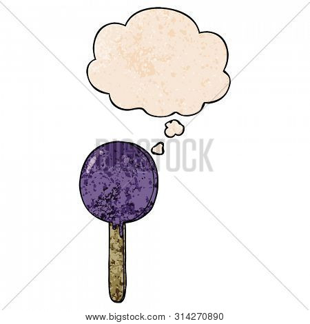 cartoon lollipop with thought bubble in grunge texture style