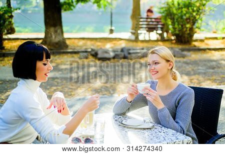 Conversation Of Two Women Cafe Terrace. Friendship Meeting. Togetherness And Female Friendship. Trus