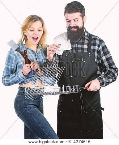 Better Grilling Is Grilling Together. Couple Of Cooks Using Barbecue Set. Couple In Love Having Barb